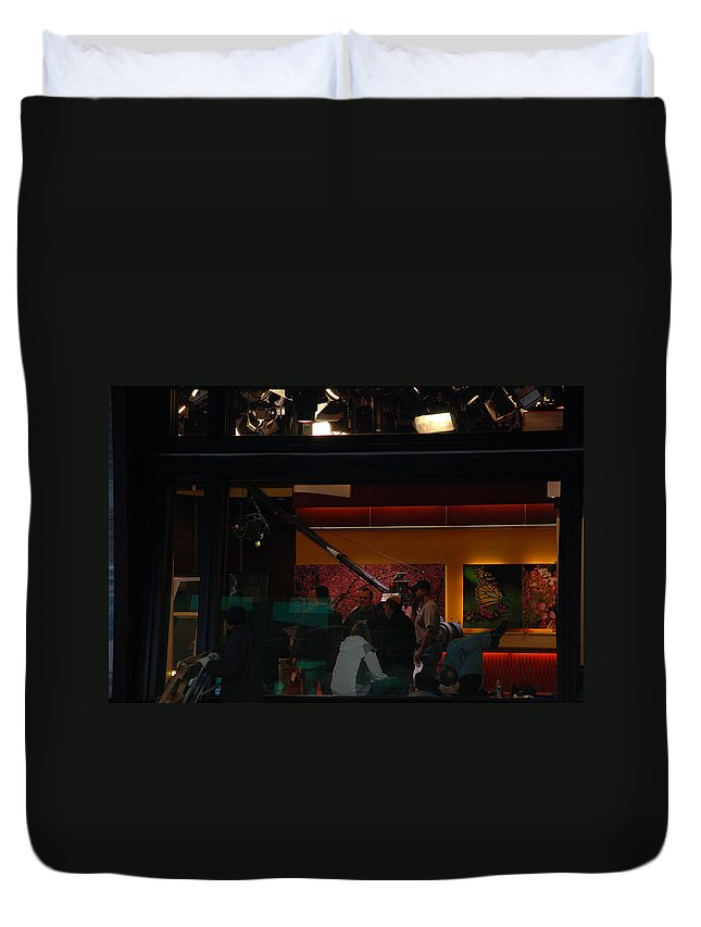 Studio Duvet Cover featuring the photograph Good Morning America Commercial Break by Rob Hans