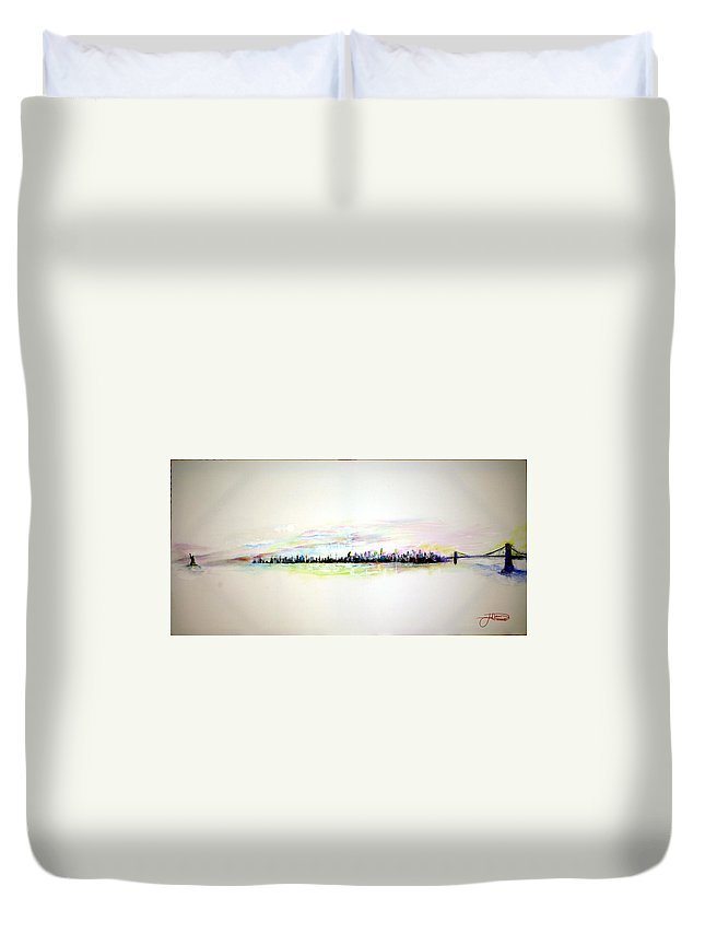 New York Duvet Cover featuring the painting Good Morning America by Jack Diamond