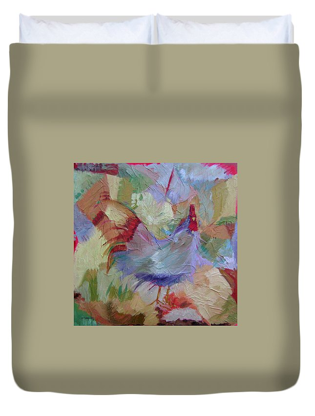 Chicken Paintings Duvet Cover featuring the painting Good Morning by Ginger Concepcion