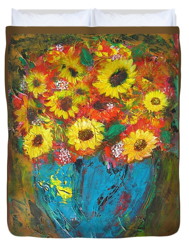Acrylic Duvet Cover featuring the painting Good Morning Sunshine by Maria Watt