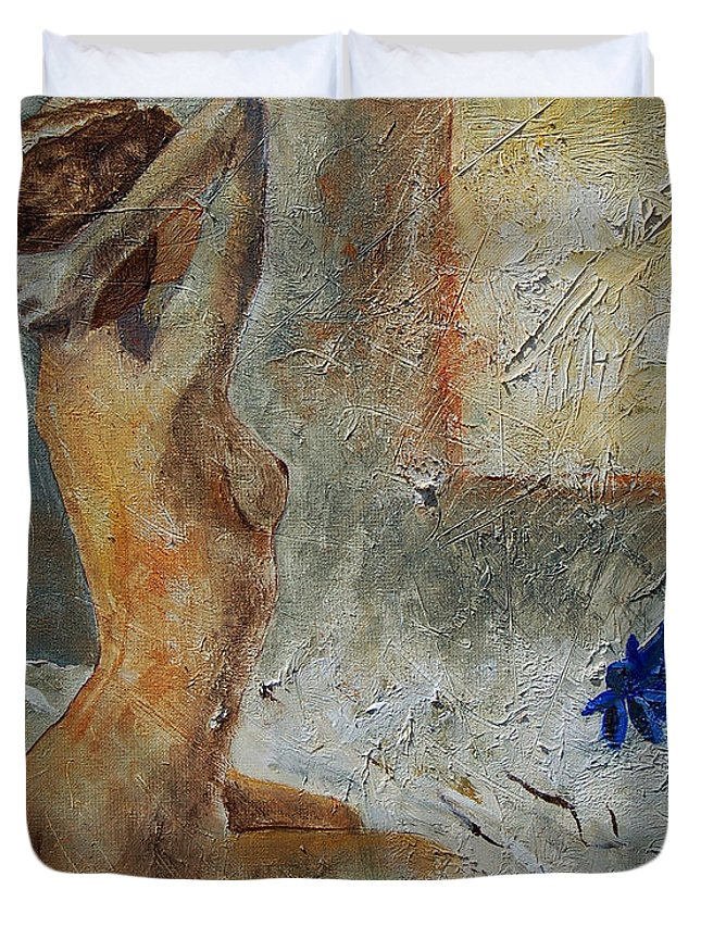 Nude Duvet Cover featuring the painting Good Morning Sunshine by Pol Ledent
