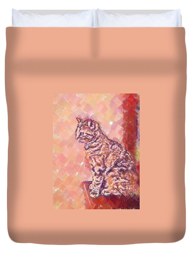 Cat Duvet Cover featuring the digital art Good Tabby by Nora Martinez