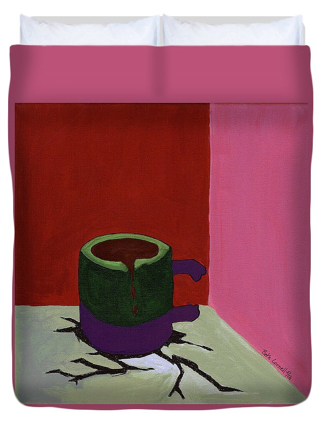 Coffee Cup Duvet Cover featuring the painting Good To The Last Drop by Beth Cornell