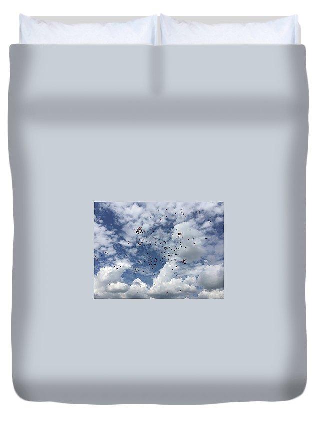 Balloons Duvet Cover featuring the digital art Goodbye Hello by Amanda McClellan