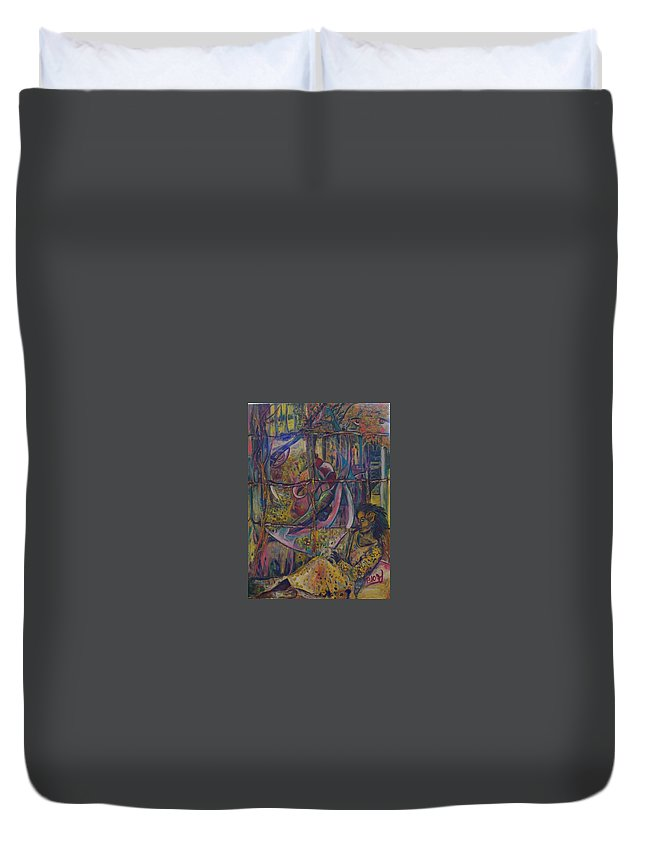 Mother Duvet Cover featuring the painting Goodbye Sweet Dreams by Peggy Blood