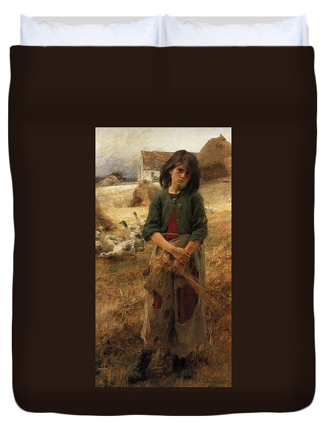 Leon Augustin Lhermitte Duvet Cover featuring the digital art Goose Girl Of Mezy by Leon Augustin Lhermitte
