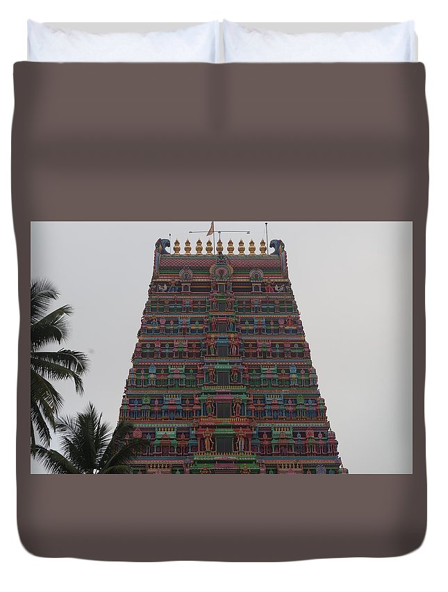 Architecture Duvet Cover featuring the photograph Gopuram by Satish Kumar