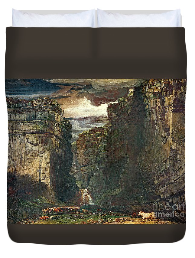 Yorkshire Duvet Cover featuring the painting Gordale Scar by James Ward