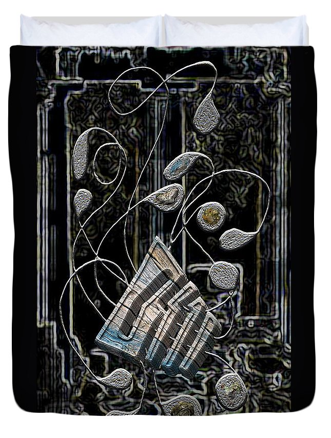 Legend Duvet Cover featuring the digital art Gordian Harp by Mark Sellers