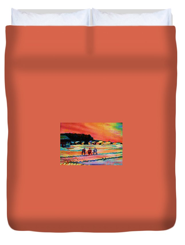 Hockey Landscape Duvet Cover featuring the painting Gorgeous Day For A Game by Carole Spandau