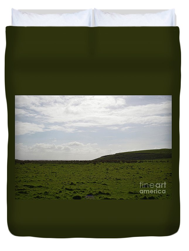 Hills Duvet Cover featuring the photograph Gorgeous Grass Field With Clouds In Ireland by DejaVu Designs