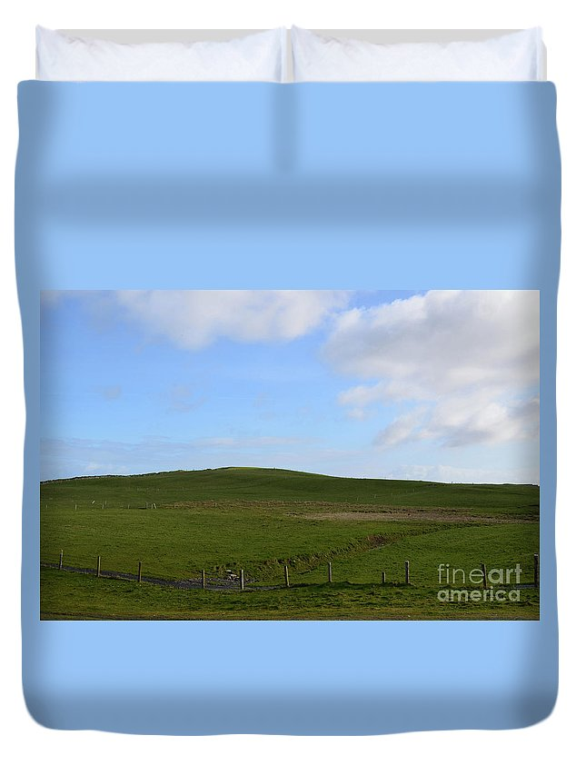 Field Duvet Cover featuring the photograph Gorgeous Rolling Hills And Fields On The Cliff's Of Moher by DejaVu Designs