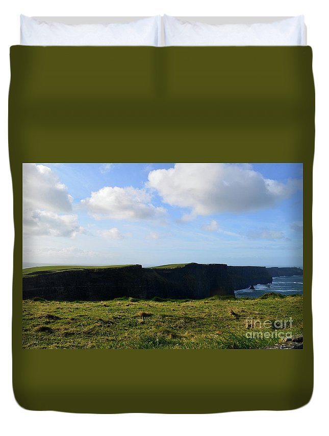 Cliffs-of-moher Duvet Cover featuring the photograph Gorgeous Seascape Along The Cliffs Of Moher In Ireland by DejaVu Designs