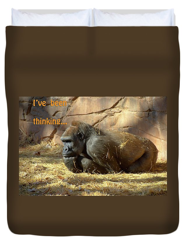 Gorilla Duvet Cover featuring the photograph Gorilla Musings by Betty LaRue
