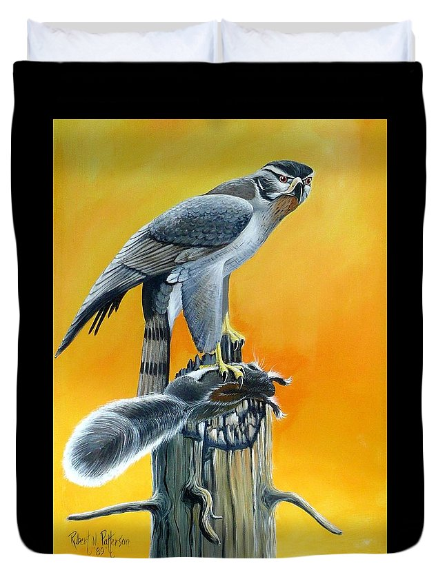 Wildlife Duvet Cover featuring the painting Goshawk by Bob Patterson