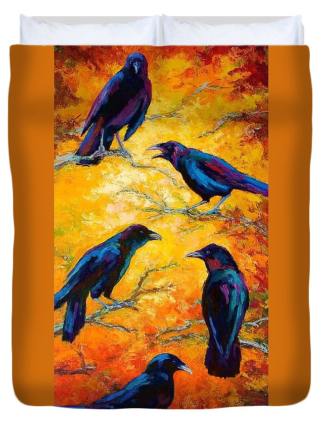 Crows Duvet Cover featuring the painting Gossip Column II by Marion Rose