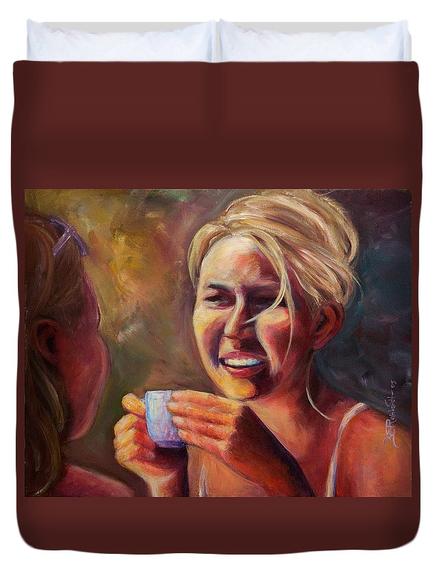 Girl Duvet Cover featuring the painting Gossip by Jason Reinhardt