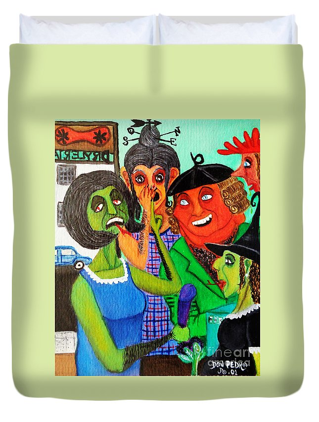 Gossips Duvet Cover featuring the painting Gossips At The Greengrocer's by Don Pedro DE GRACIA