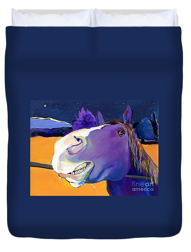 Barnyard Animal Duvet Cover featuring the painting Got Oats   by Pat Saunders-White