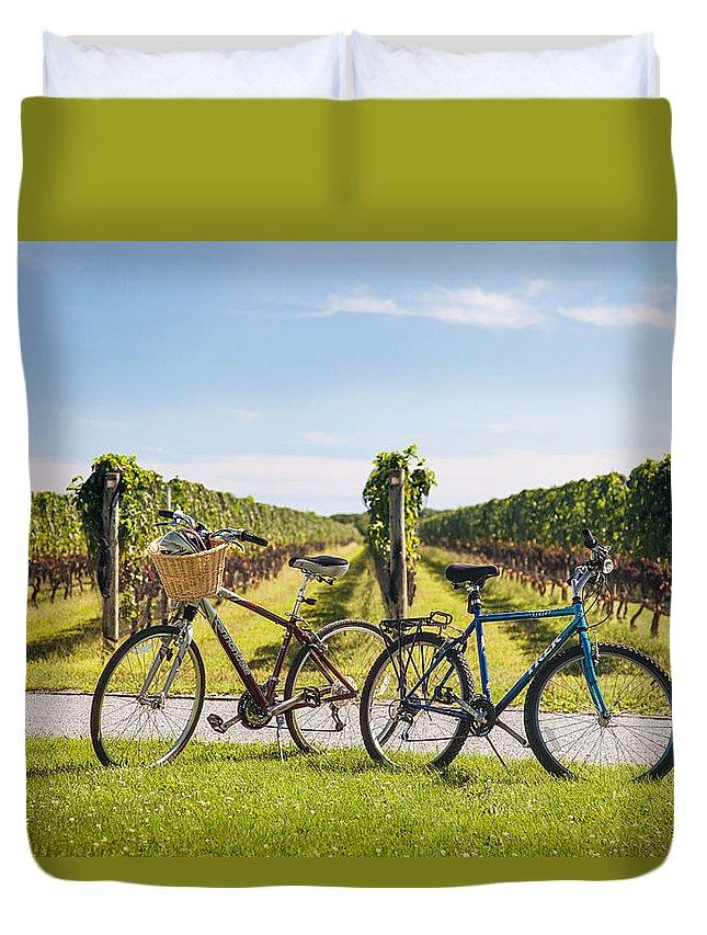 Long Island Duvet Cover featuring the photograph Got Wine by Alex Kotlik