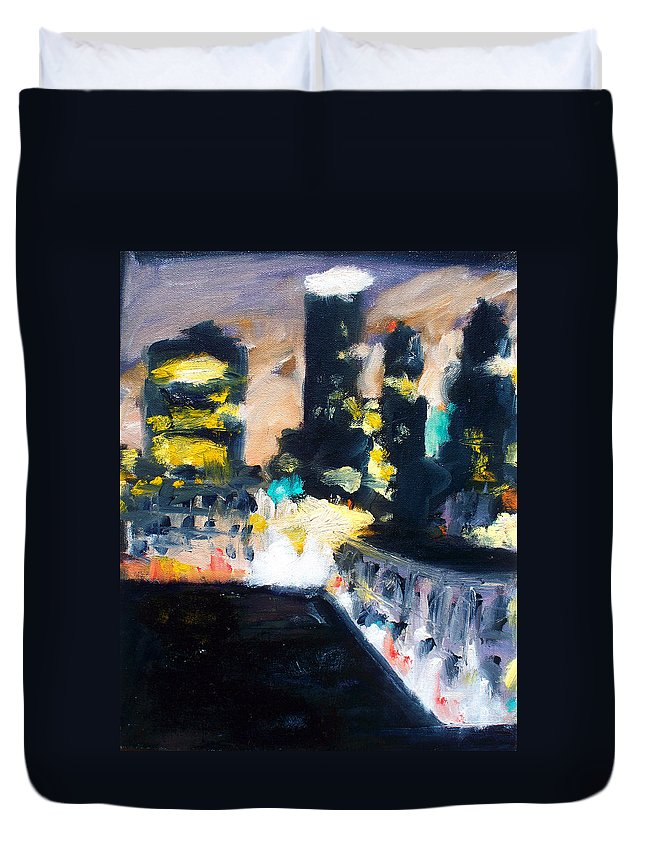 Des Moines Duvet Cover featuring the painting Gotham by Robert Reeves