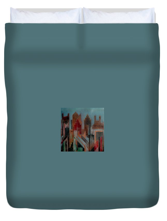 Abstract Duvet Cover featuring the painting Gothem City by Anita Burgermeister