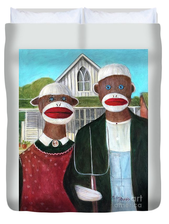 Masterpiece Duvet Cover featuring the painting Gothic American Sock Monkeys by Randy Burns