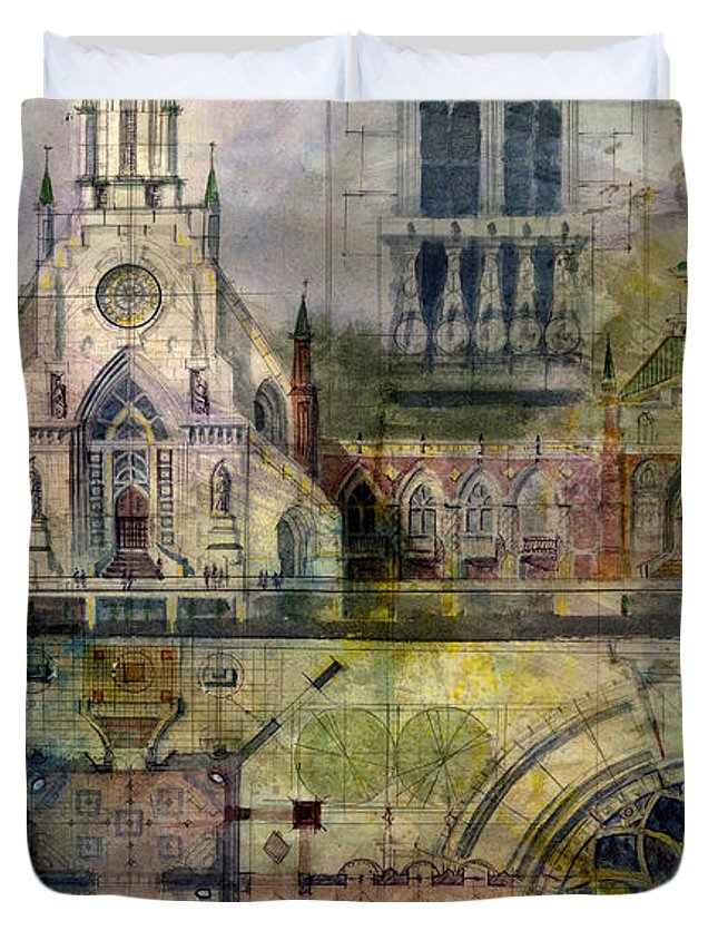 Gothic Duvet Cover featuring the painting Gothic by Andrew King