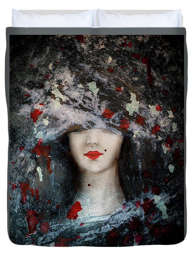 Gothic Beauty Duvet Cover featuring the painting Gothic Beauty by Lilia D