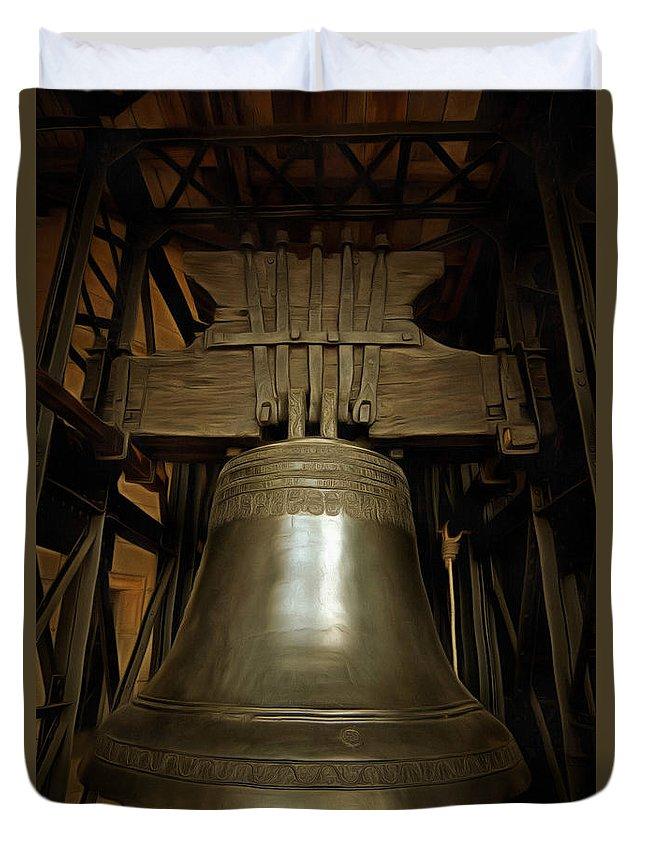 Czech Duvet Cover featuring the digital art Gothic Bell by Michal Boubin