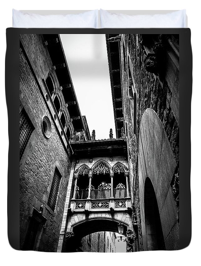 Street Duvet Cover featuring the photograph Gothic Bridge In The Gothic Quarter Of Barcelona by Abel Santos