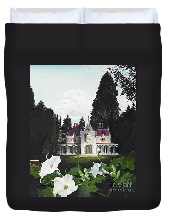 Fantasy Duvet Cover featuring the painting Gothic Country House detail from Night Bridge by Melissa A Benson