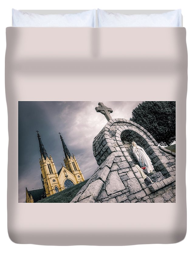 Architecture Duvet Cover featuring the photograph Gothic Faith by Jim Love