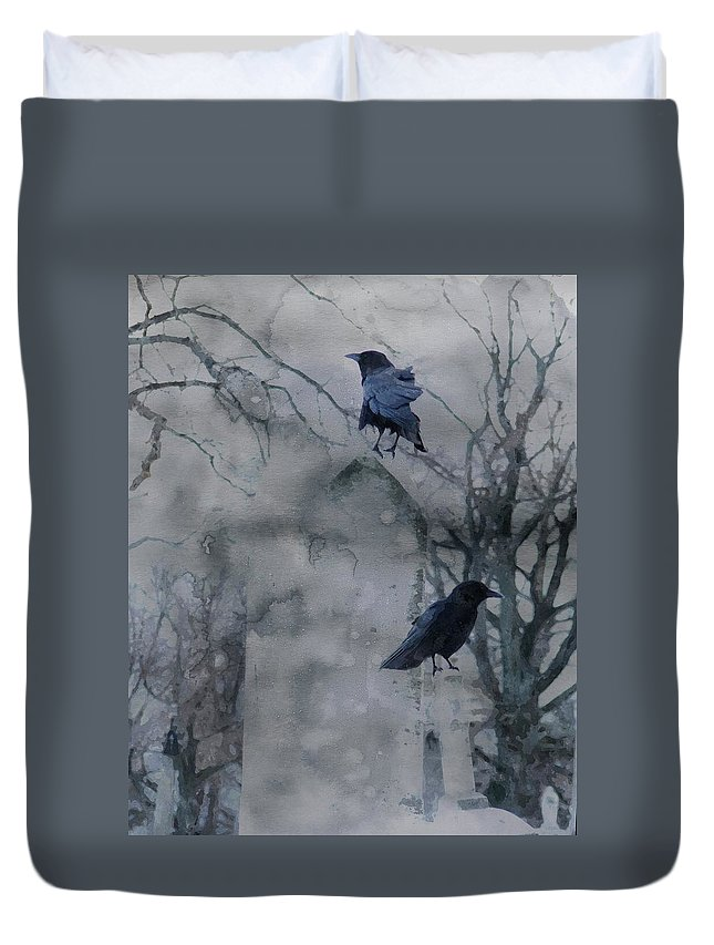 Crows Art Duvet Cover featuring the mixed media Gothic Gray Wash by Gothicrow Images
