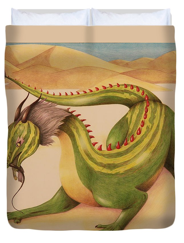 Dragon Duvet Cover featuring the drawing Gourd Dragon by Michelle Miron-Rebbe