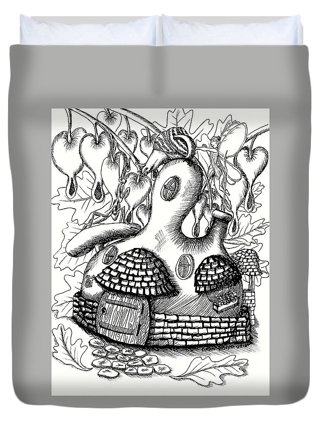 #dawndboyer Duvet Cover featuring the drawing Gourd Fairy House With Snail And Preying Mantis by Dawn Boyer