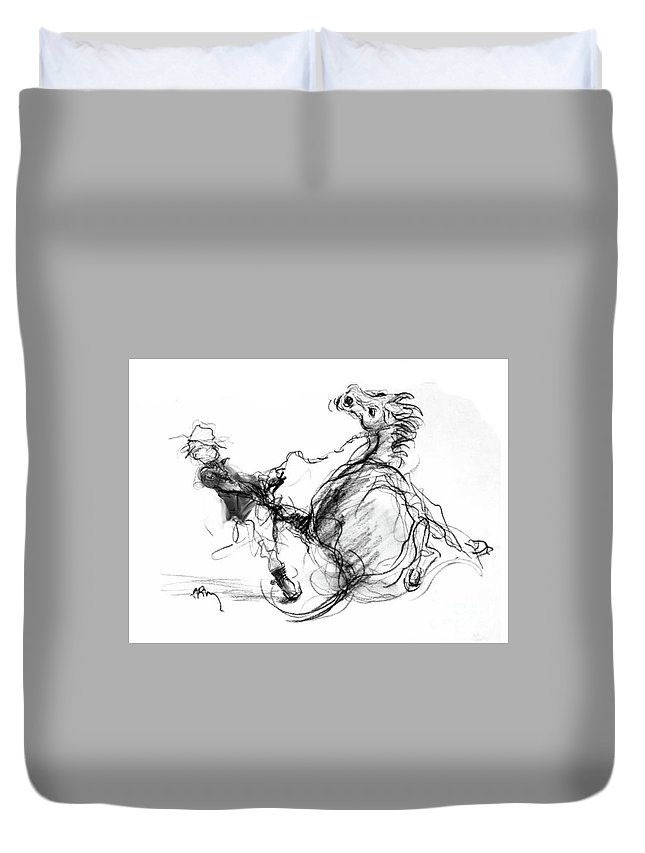 Breaking Horses Duvet Cover featuring the drawing Government Horse by Paul Miller