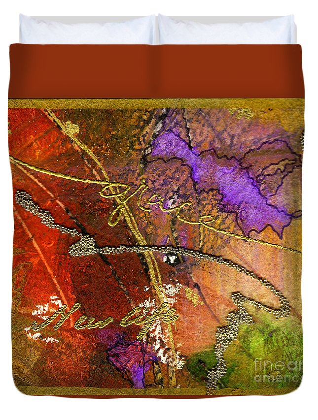 Abstract Duvet Cover featuring the mixed media Grace by Angela L Walker