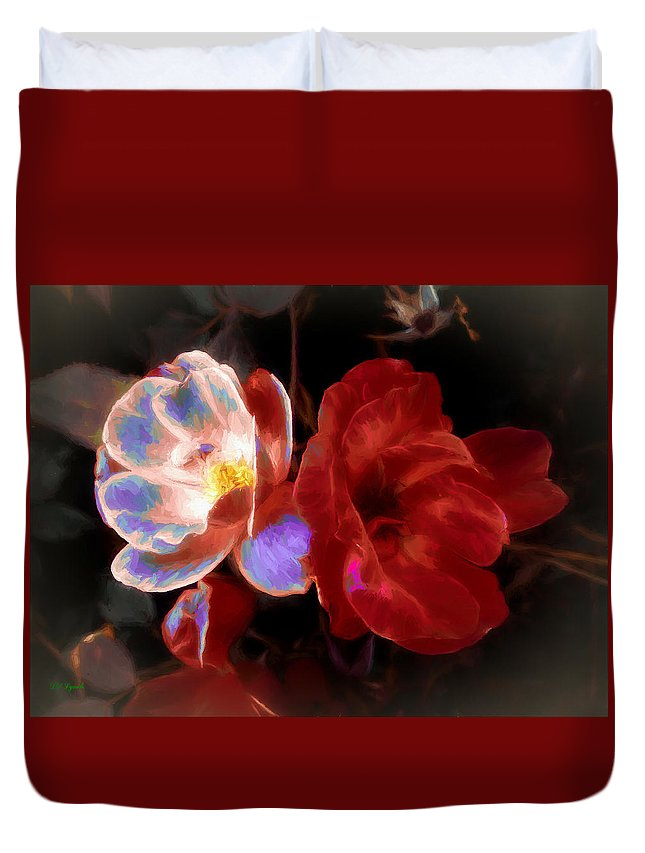 Roses Duvet Cover featuring the mixed media Graceful Glow by Debra Lynch