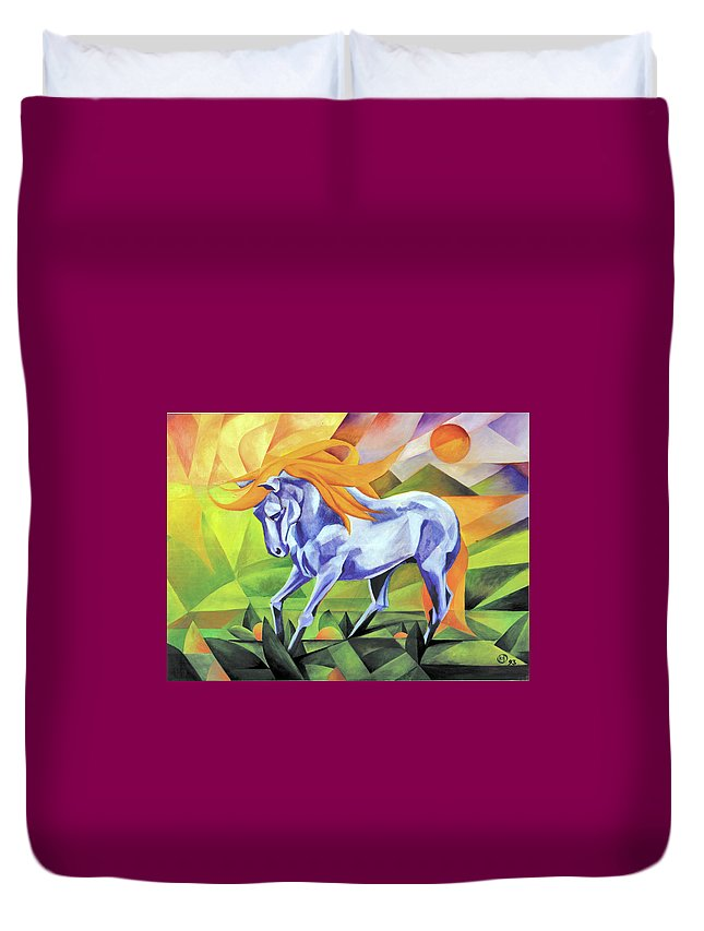 Stallion Duvet Cover featuring the painting Graceful Stallion With Flaming Mane by Johannes Margreiter