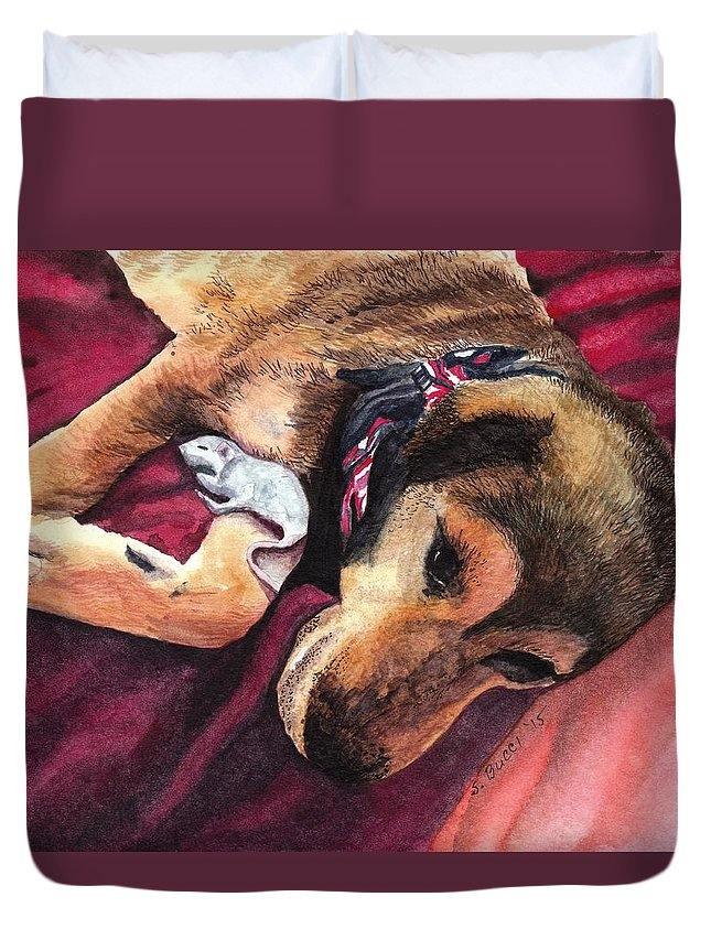 Pets Duvet Cover featuring the painting Gracis Great Defender by Steph Bucci