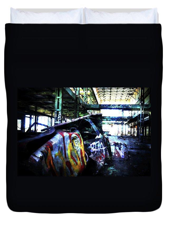 Graffiti Duvet Cover featuring the photograph Graffiti Car by Phill Petrovic