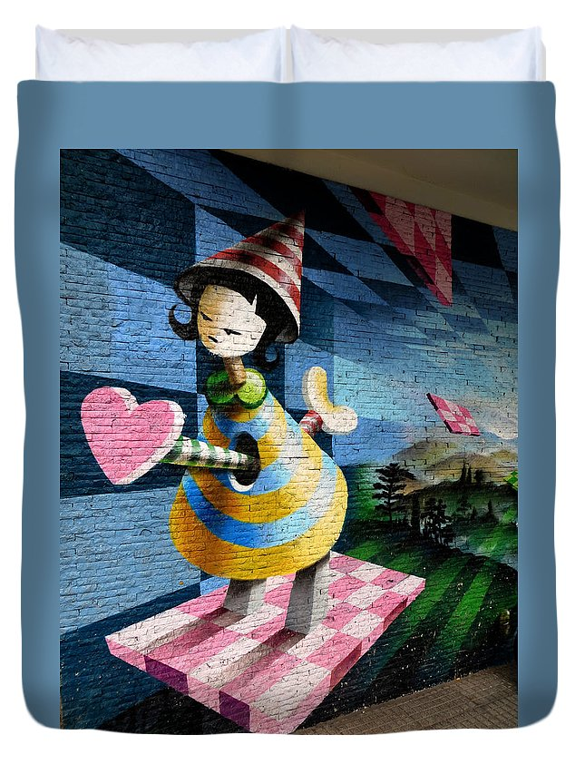 Graffiti Duvet Cover featuring the photograph Graffiti Girl by Harry Coburn