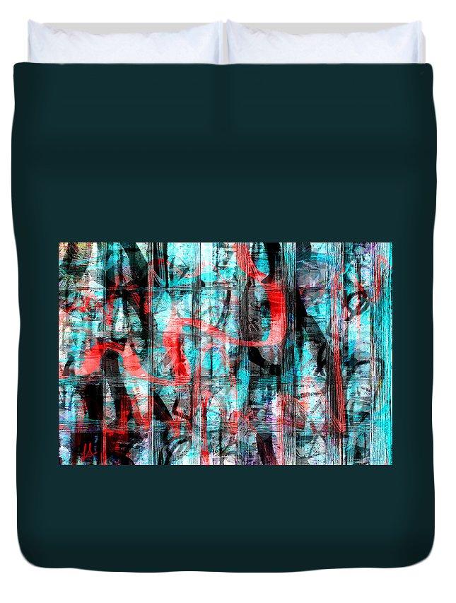Graffiti Art Duvet Cover featuring the digital art Graffiti by Linda Sannuti