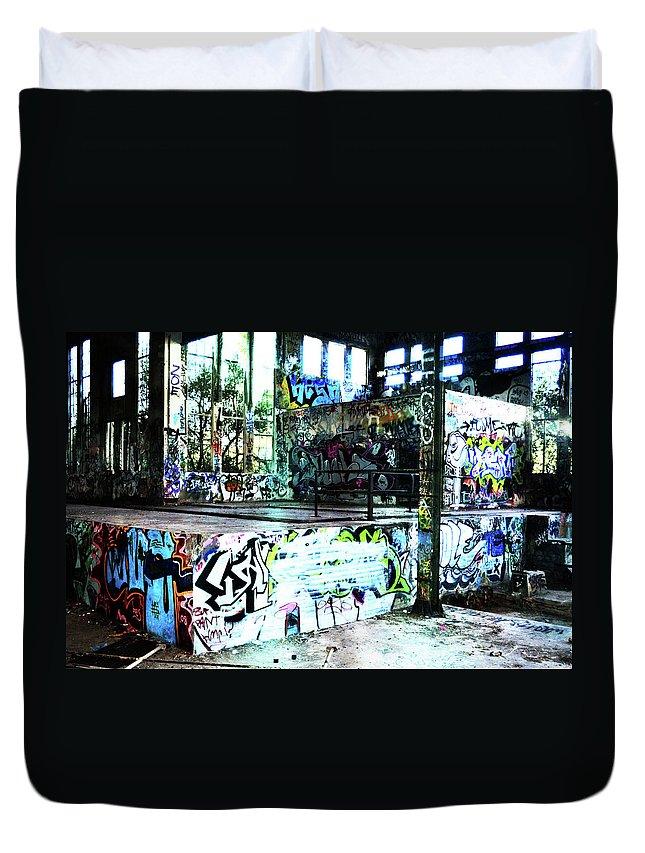 Graffiti Duvet Cover featuring the photograph Graffiti by Phill Petrovic