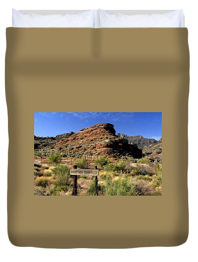 Grafton Utah Duvet Cover featuring the painting Grafton Cemetery by David Lee Thompson
