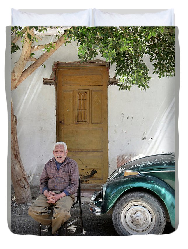 Jezcself Duvet Cover featuring the photograph Graham And His Beetle by Jez C Self