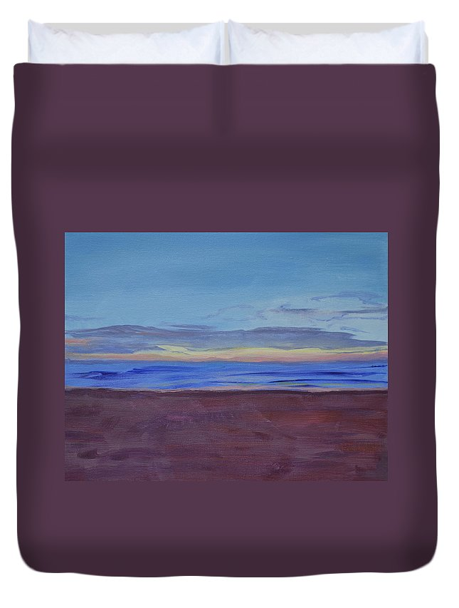 Beach Duvet Cover featuring the painting Graham's Beach by Mary Chant