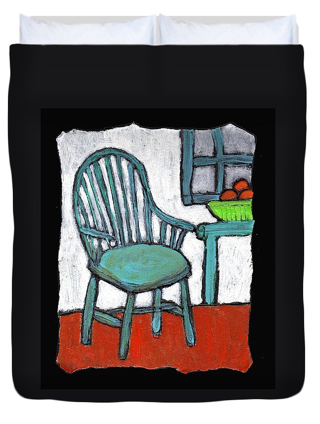 Chair Duvet Cover featuring the painting Grampa's Empty Chair by Wayne Potrafka