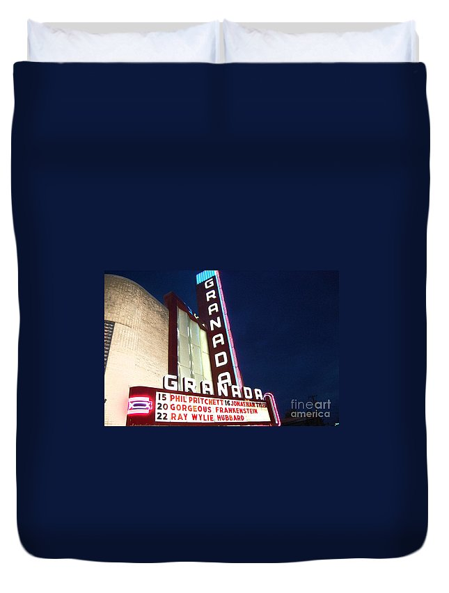 Music Duvet Cover featuring the photograph Granada Theater by Debbi Granruth